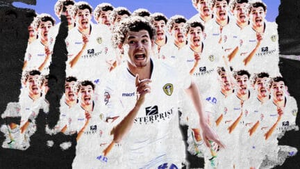 It's young Kalvin Phillips celebrating his debut goal in 2015, but the picture's been done like that one Olivia Rodrigo single