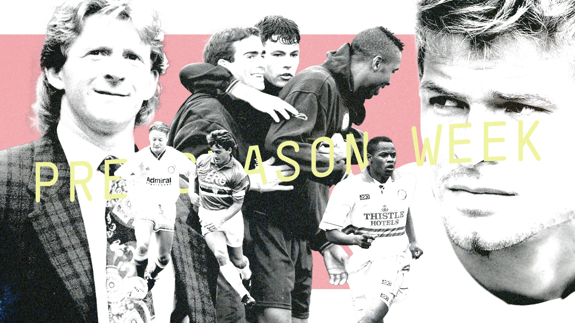 A collage of Leeds players including Strachan, Batty, Masinga, Harte and Beckham — not that one