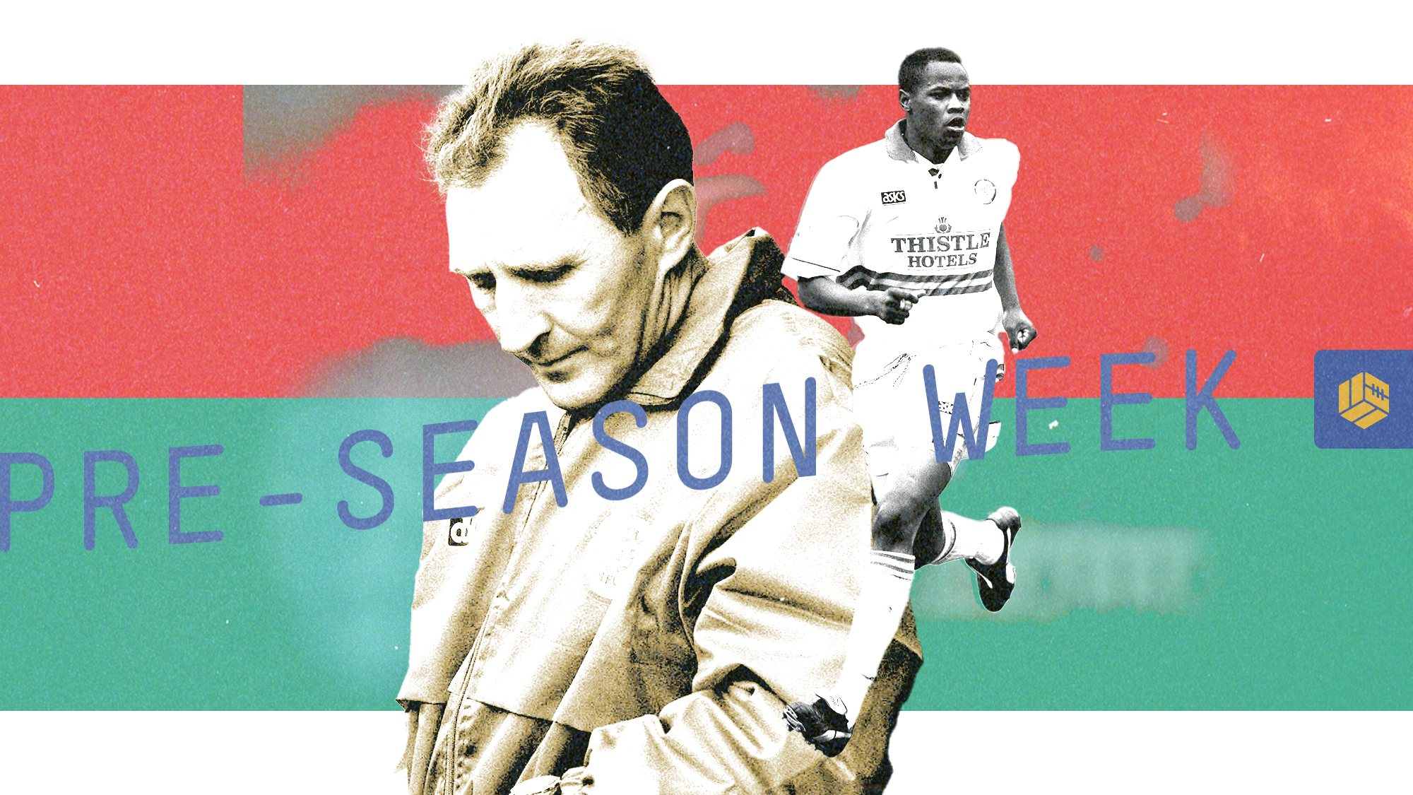 Howard Wilkinson and Phil Masinga on a red and green background