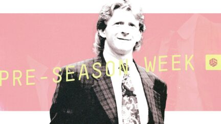 Gordon Strachan is wearing a check suit, a loud tie, and his ginger hair is in a long mullet, he looks great