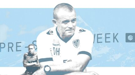 A big Dave Hockaday, and a little Dom Poleon, the latter in a river with his arms crossed