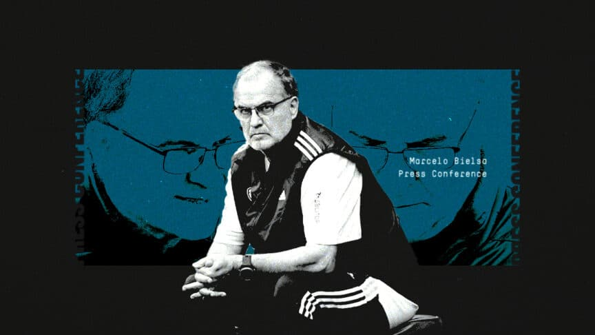 A graphic showing Marcelo Bielsa looking serious