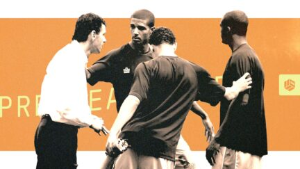 Jermaine Beckford and the class of 2007 debating things with Gus Poyet