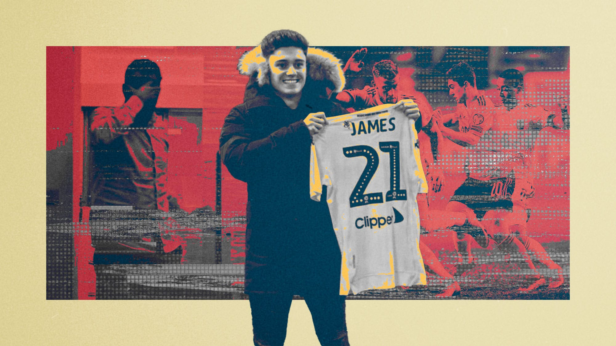 Dan James holding a Leeds shirt up in one of the photos from his failed move