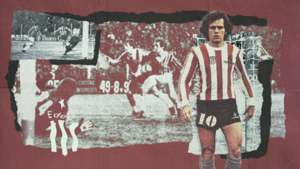 An image of Alex Sabella looking great in the red and white stripes of Estudiantes