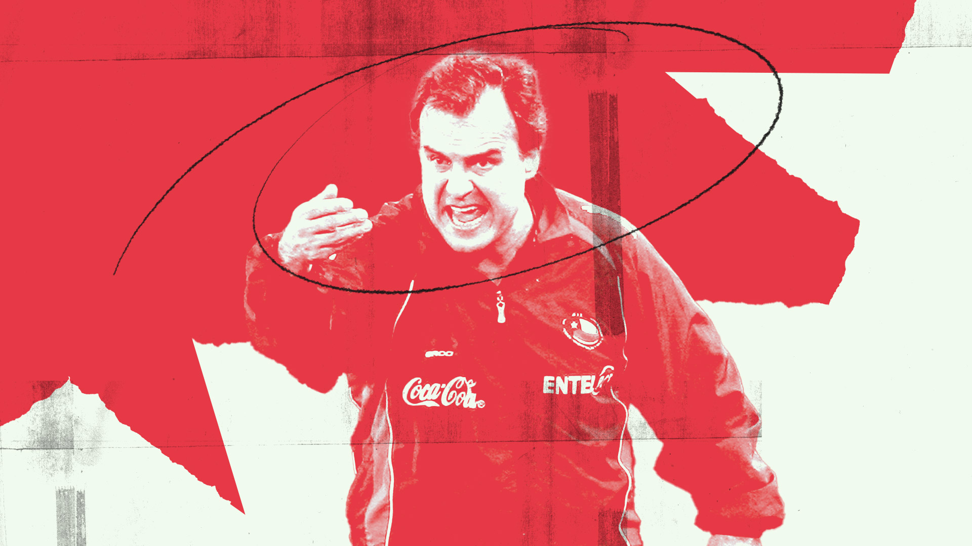 Bielsa as Chile coach, shouting at his players