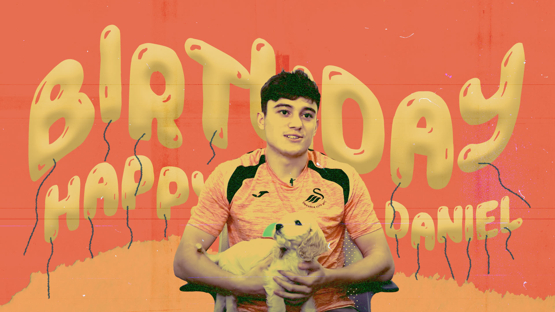 Dan James is holding his cute puppy Hugo in front of some balloons that say 'Birthday Happy Daniel', awwww