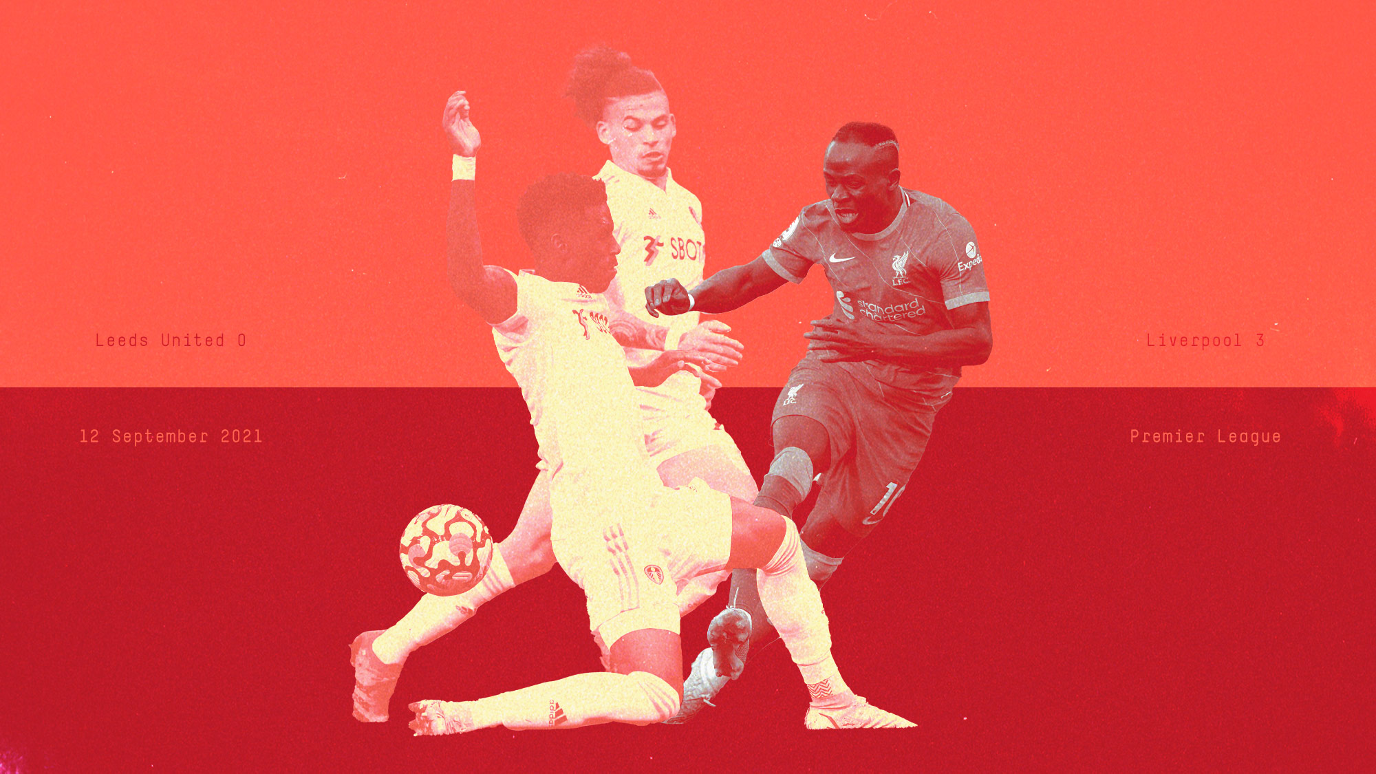 A graphic showing Firpo tackling Mane while Phillips looks on