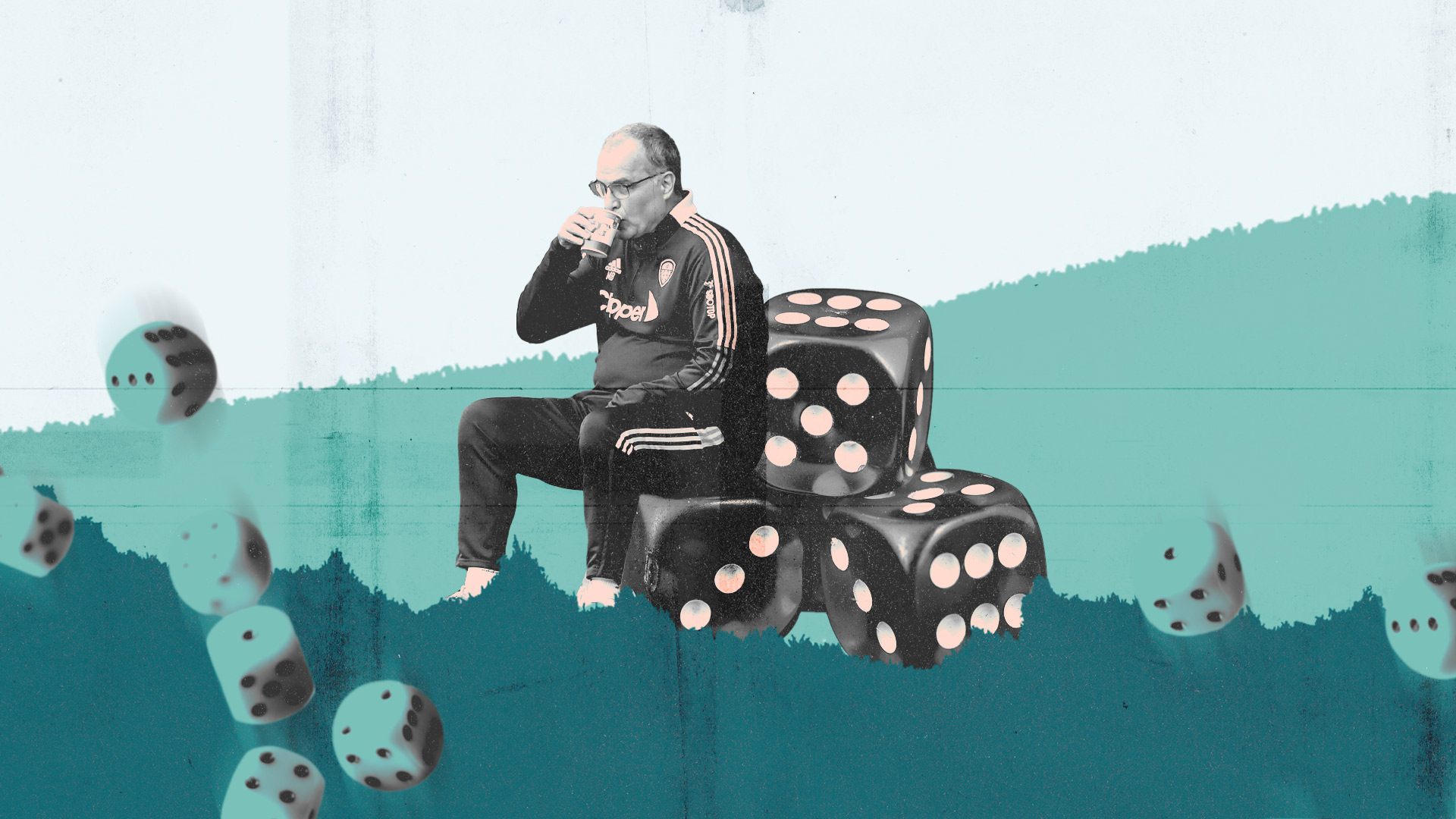 Marcelo Bielsa is sitting down and sipping coffee, only he's sitting on some massive dice (die?) instead of his bucket