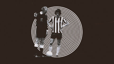 Terry Hibbitt, in the black and white stripes of Newcastle, being ordered about by a referee