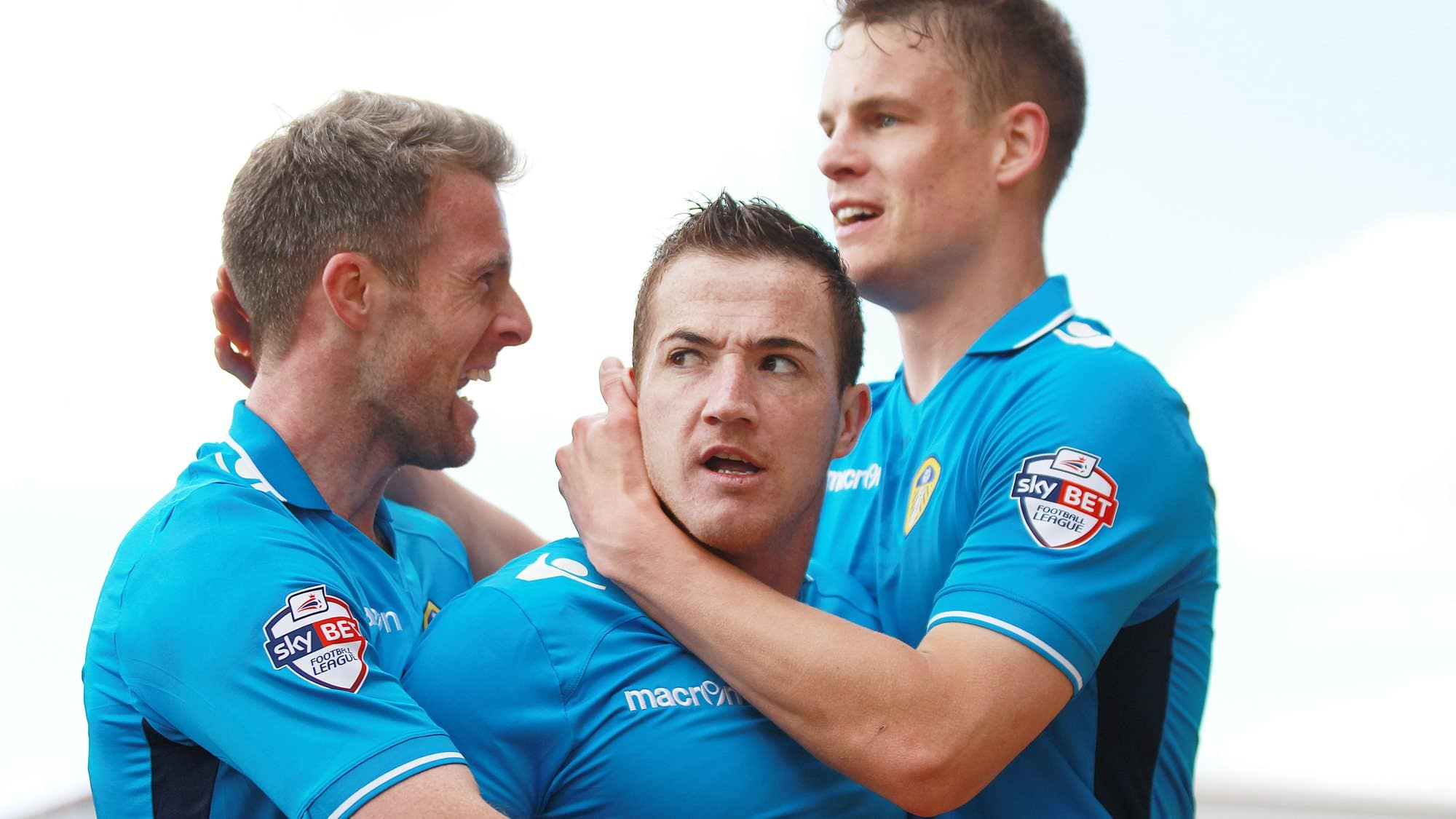 Ross McCormack looks angry about celebrating a goal, but Michael Tonge and Mathieu Smith look well chuffed
