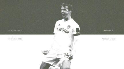 Diego Llorente celebrates scoring the winner for Leeds. Yay! he's saying