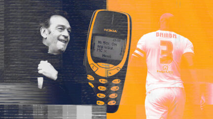 Massimo Cellino and Sol Bamba shown either side of a big Nokia phone, bearing the message: 'Hi Sol, on my way. MC X'