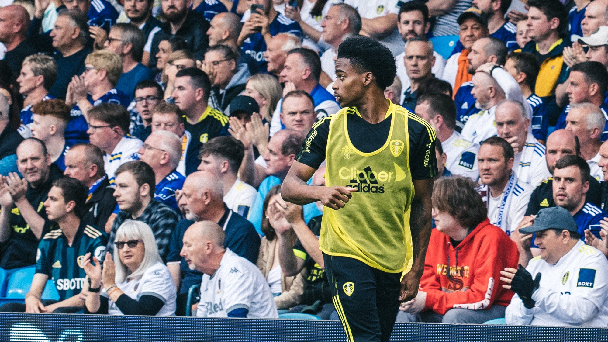 Crysencio Summerville warming up in front of the West Stand crowd during the West Ham game